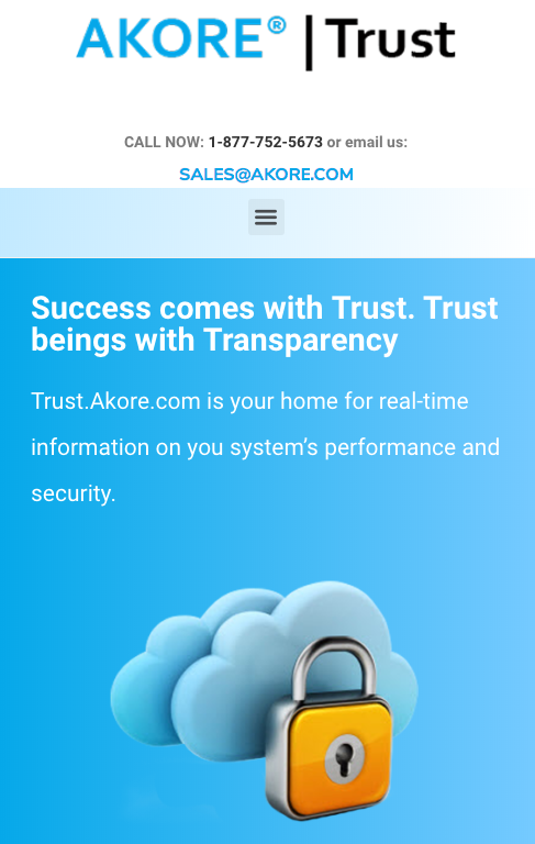 trust akore website mobile view